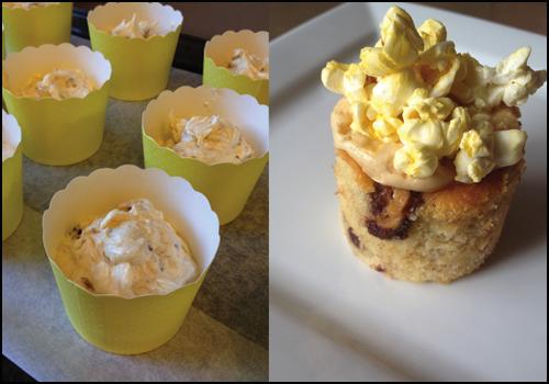 Banana, Peanut Butter & Popcorn Cupcakes