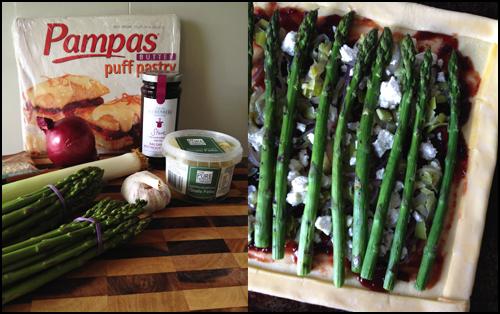 Asparagus, Goats Fetta & Beetroot Tart